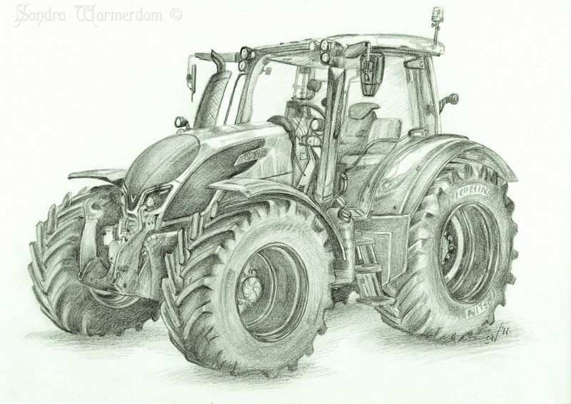 Valtra N174 Tractor Inspired Pencil Drawing With Images