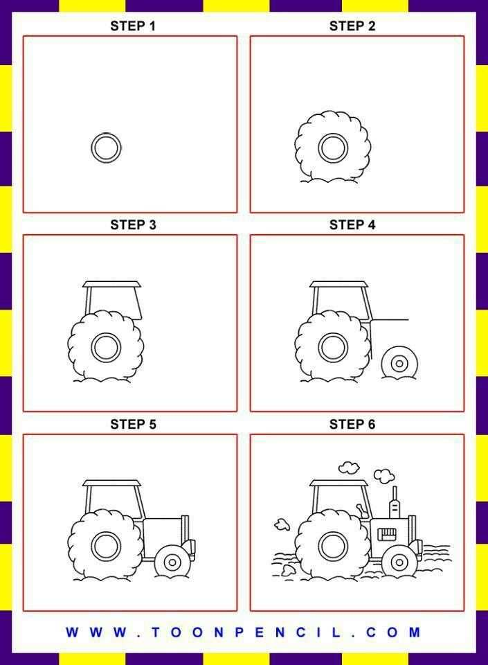 How To Draw A Tractor Met Afbeeldingen Leer Tekenen Tractor