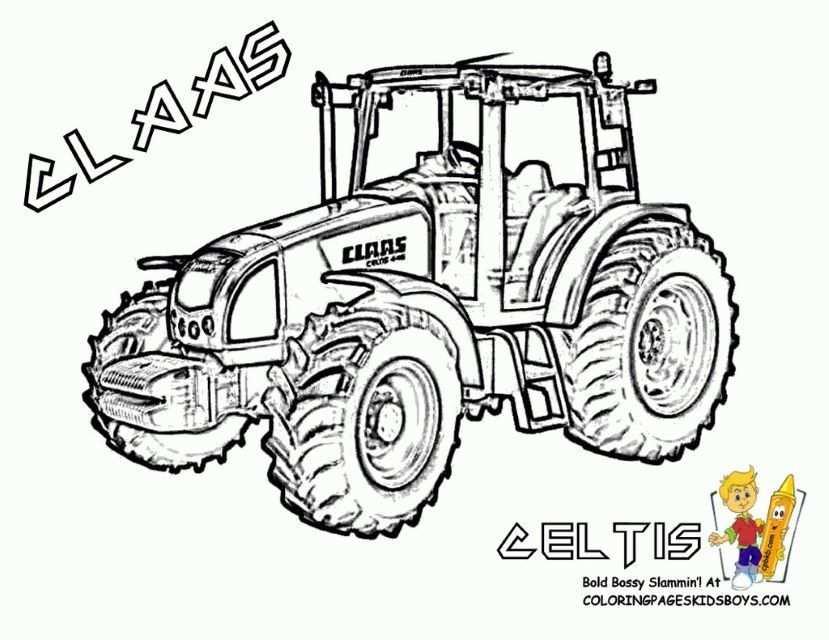 kleurplaat tractor met ploeg