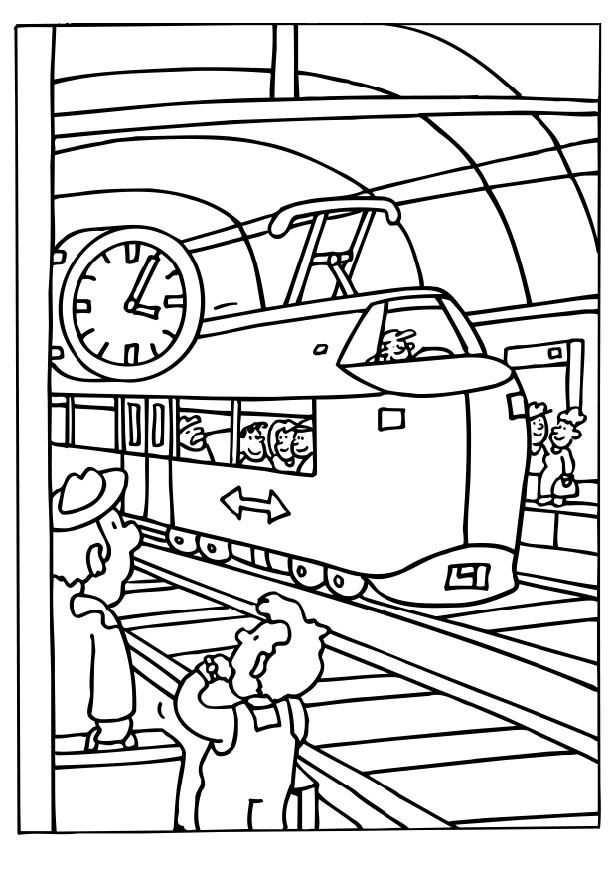 Kleurplaat Vervoer Trein Vervoer Thema Trein Station Trein