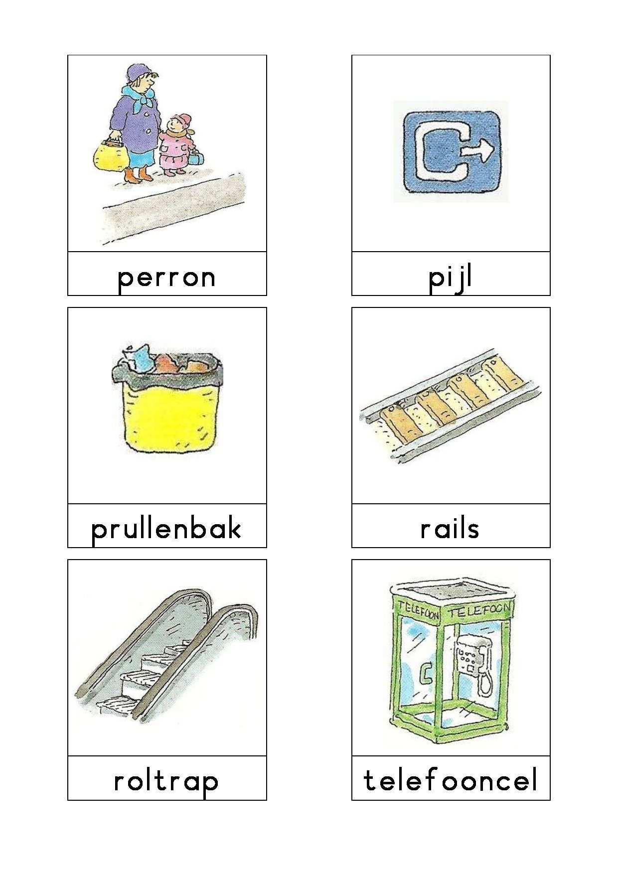 Woordkaarten Bas Het Station 2 Met Afbeeldingen Vervoer