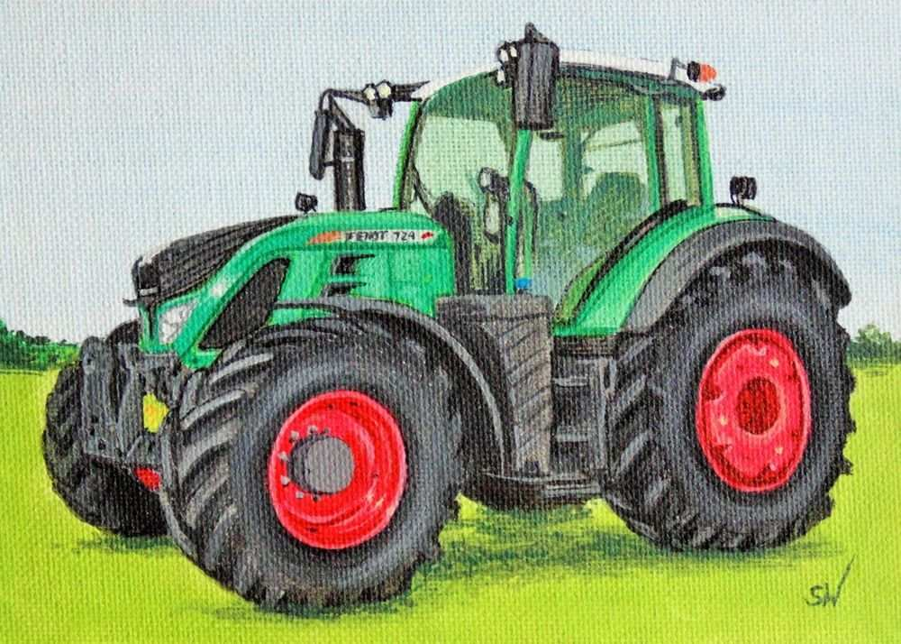 Fendt Tractor Mini Painting Acrylic On Canvas Board Realism