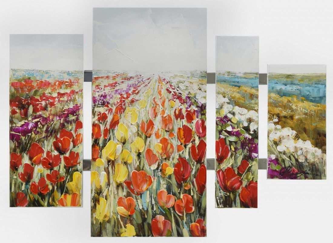 Schilderij Bloemenveld 4 Luik 80x109 Luiken Tulpen En Bloemen