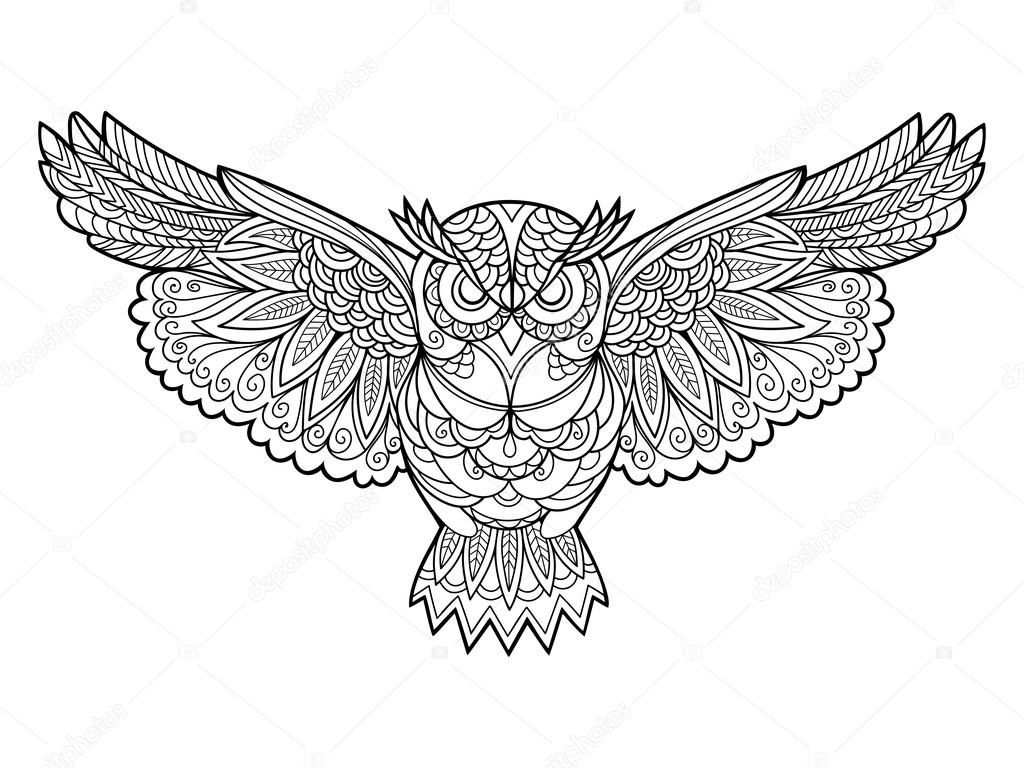 Owl Bird Coloring Book For Adults Vector Illustration Anti Stress