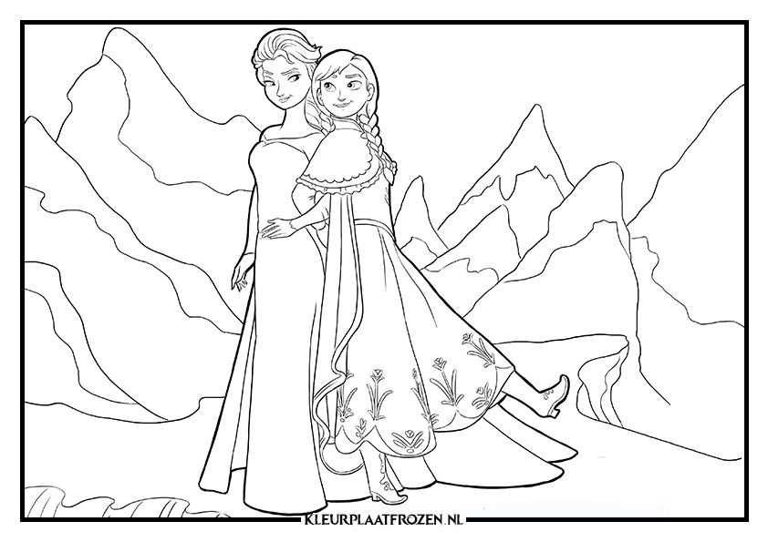 Elsa Anna Kleurplaat Uitprinten Op Kleurplaat Frozen Disney