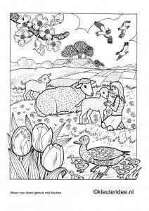 Kleurplaat Lente 3 Kleuteridee Nl Spring Preschool Coloring