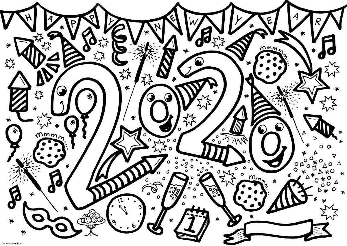 Block Poster Nieuwjaar 2020 Kleurplaat Voor 25 Personen