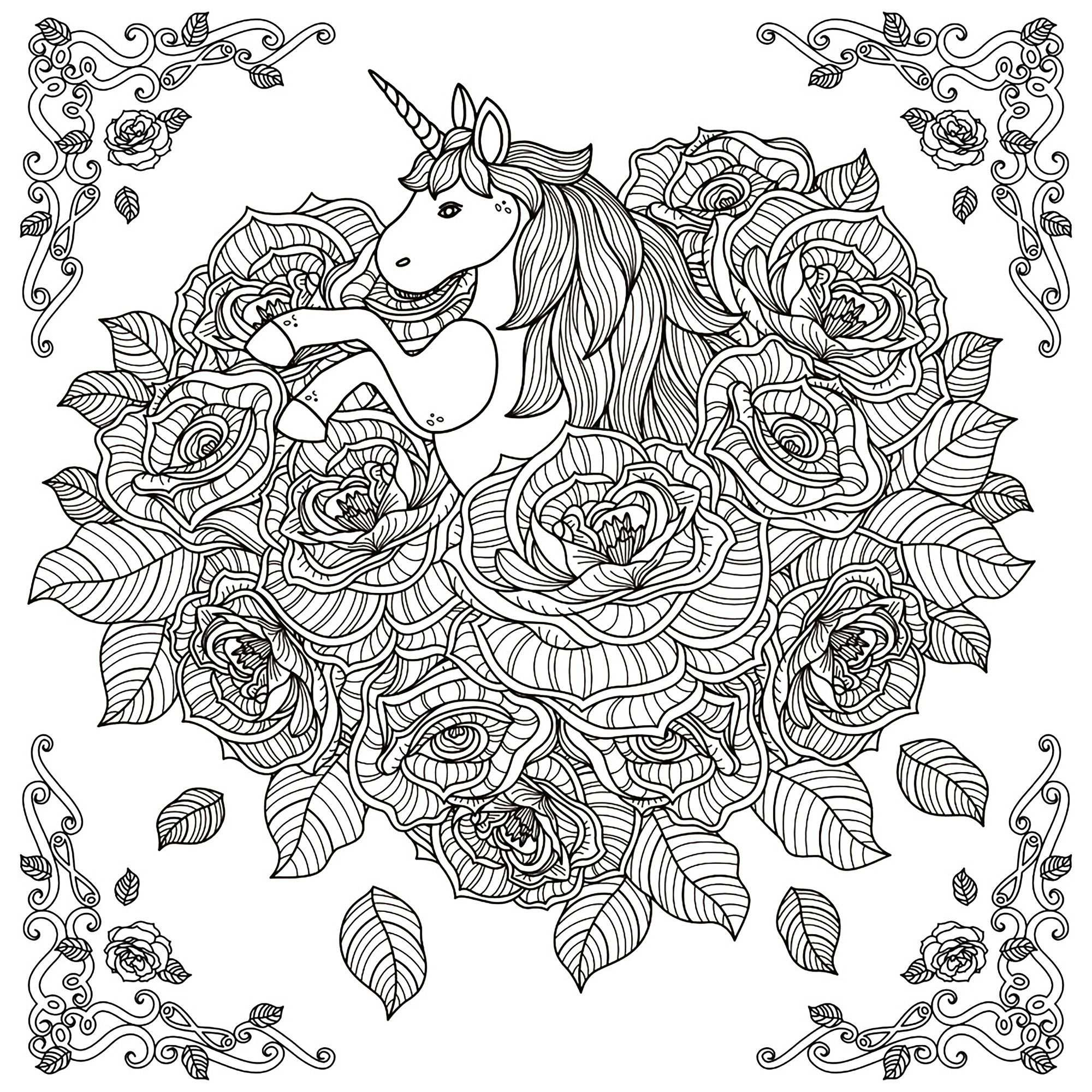 Unicorn Coloring Pages For Adults En 2020 Licorne Coloriage