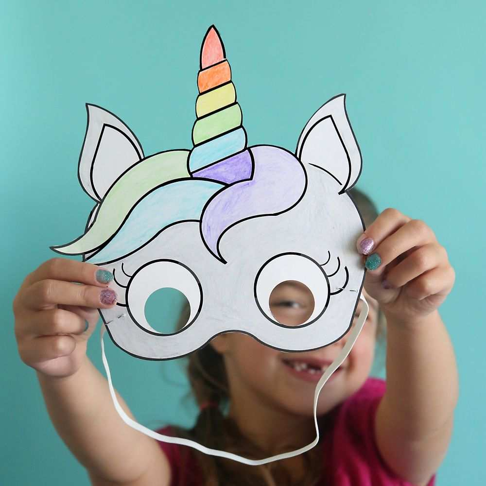 Unicorn Masks To Print And Color Free Printable With Images