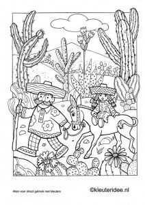 Kleurplaat Mexico 2 Kleuteridee Nl Mexican Coloring Omalovanky