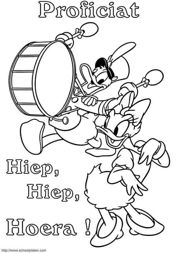 Kleurplaat Donald Duck Donald En Katrien Vieren Verjaardag