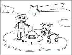Kleurplaat Verjaardag Robot Hond Character Comics Fictional