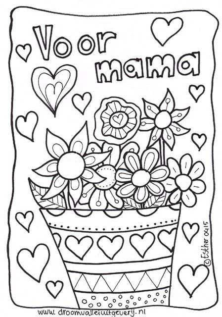 Moederdag Kleurplaat Met Bloemen Met Afbeeldingen Moederdag