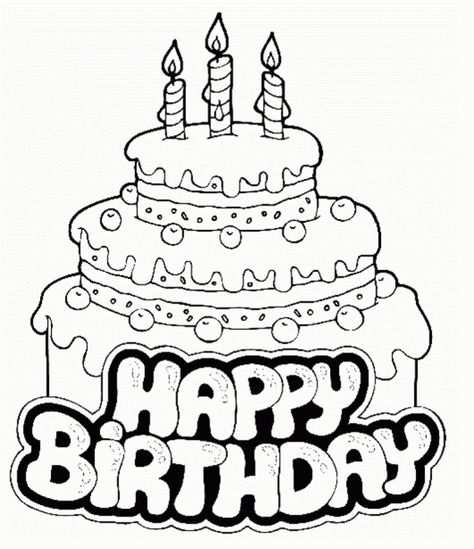 3 Tiers Birthday Cake Coloring Page For Your Little One Kinderen