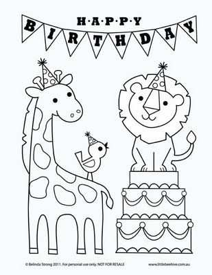 Birthday Coloring Sheet Kleurplaten Digitale Stempels