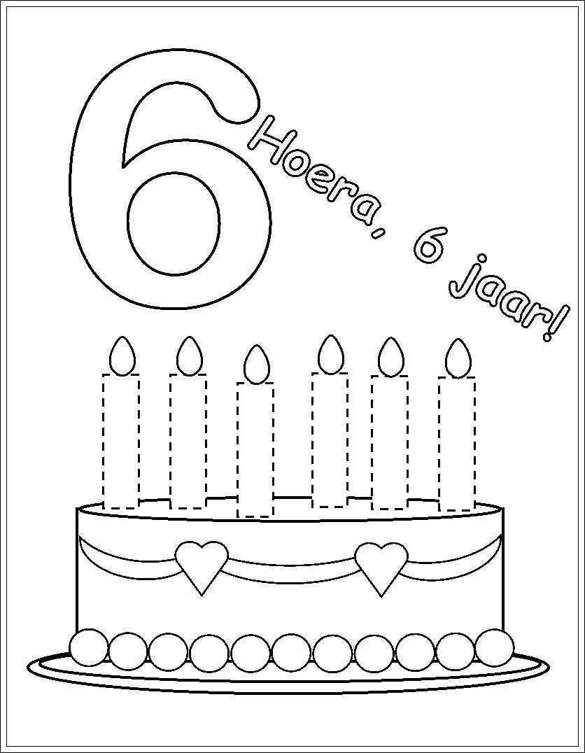 Kleurplaat Verjaardag Fotolijst 6 Verjaardag