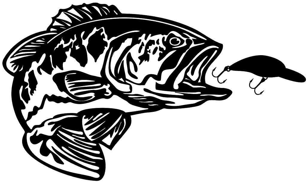 Bass With Bait Decal Md5 Vinyl Fishing Boat Sticker Boat