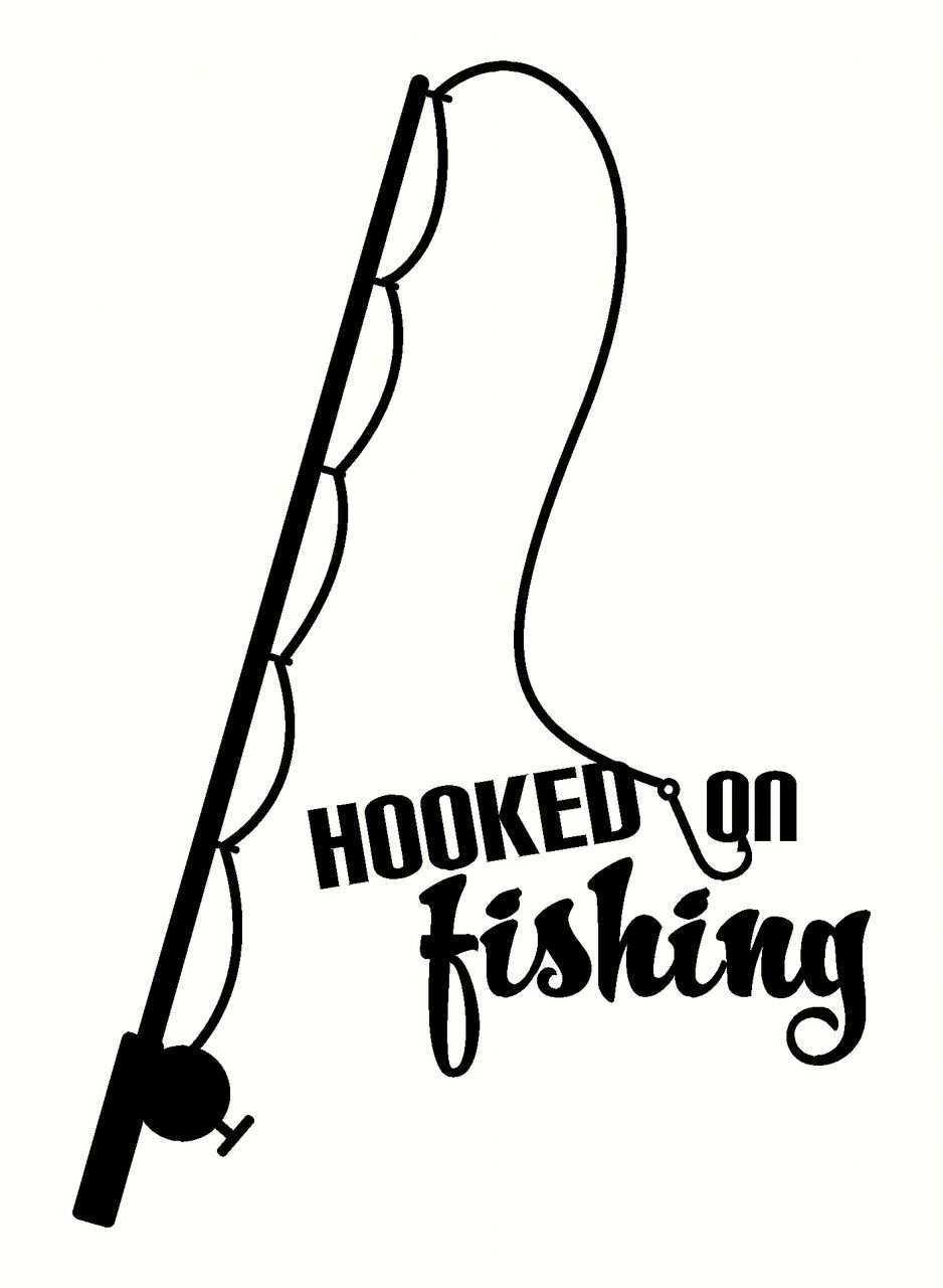 Fisherman Art Decor Hooked On Fishing Wall Decal Sticker With Fish