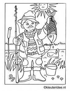Kleurplaat Vissen Vangen Kleuteridee Nl Fishing Coloring