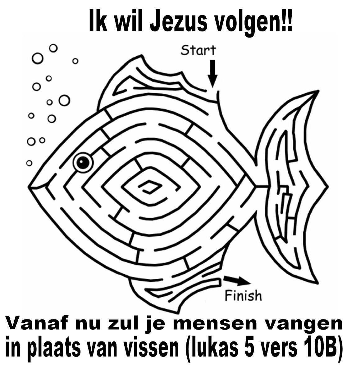 Jezus Volgen Kinderdienst Kleurplaten En Vissen