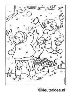 Kleurplaat In De Sneeuw Kleuteridee Nl Kleurplaten Kunst