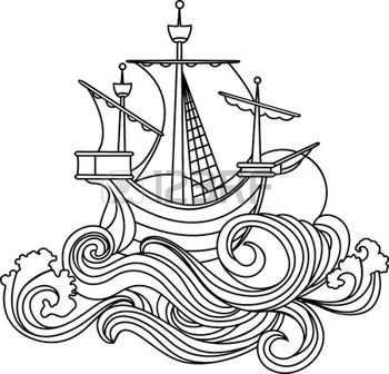 Oceaan 3a Zeilen Schip In Art Nouveau Stijl Stencil Stock