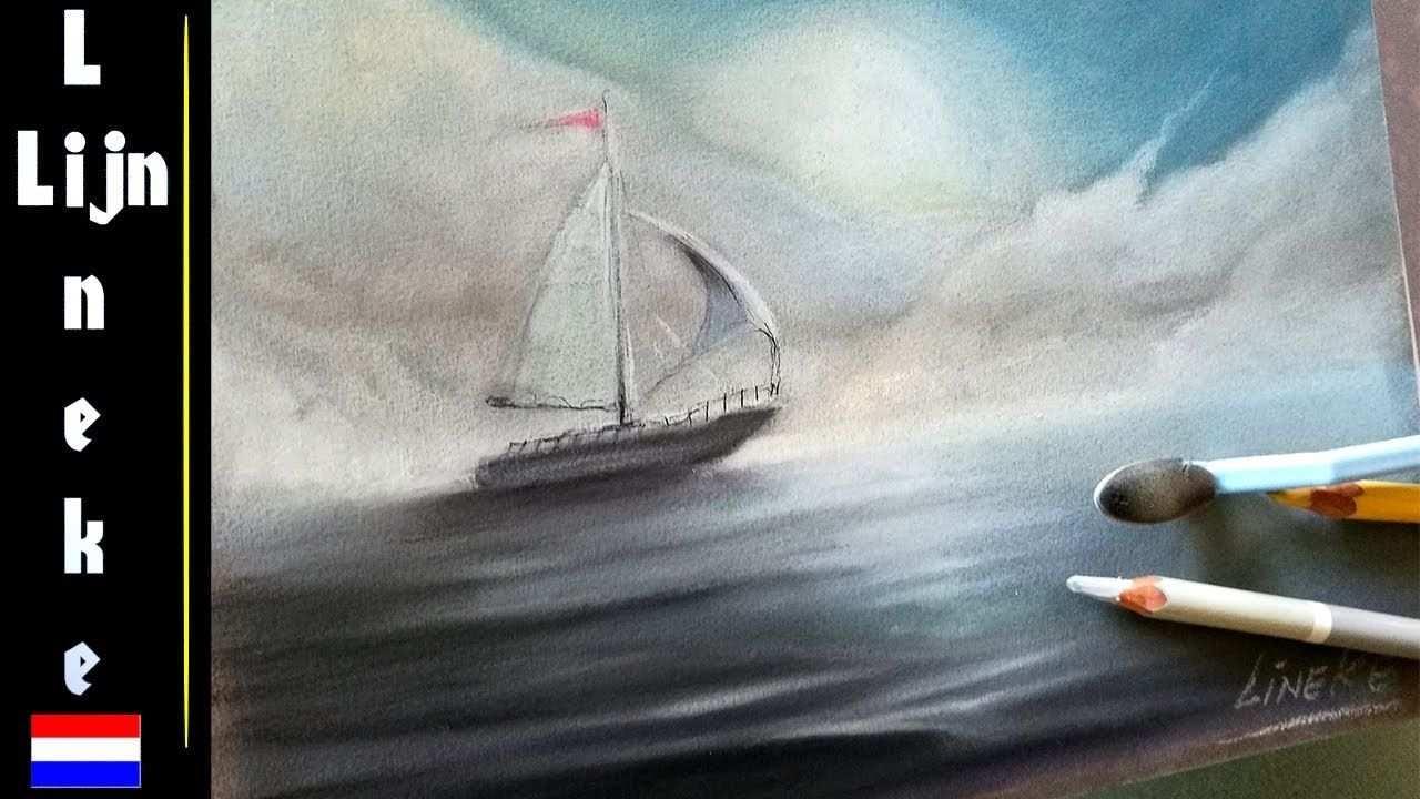 Hoe Teken Je Een Boot En Mist Op Zee Golven En Wolken Dingen