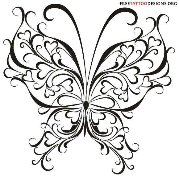 Hartjes Vlinder Kleurplaten Vlinders En Vlindertattoos