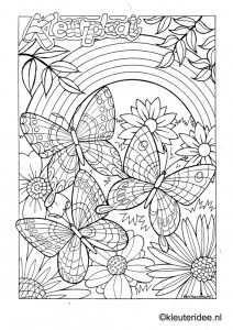 Kleurplaat Vlinder 3 Butterfly Preschool Coloring Met