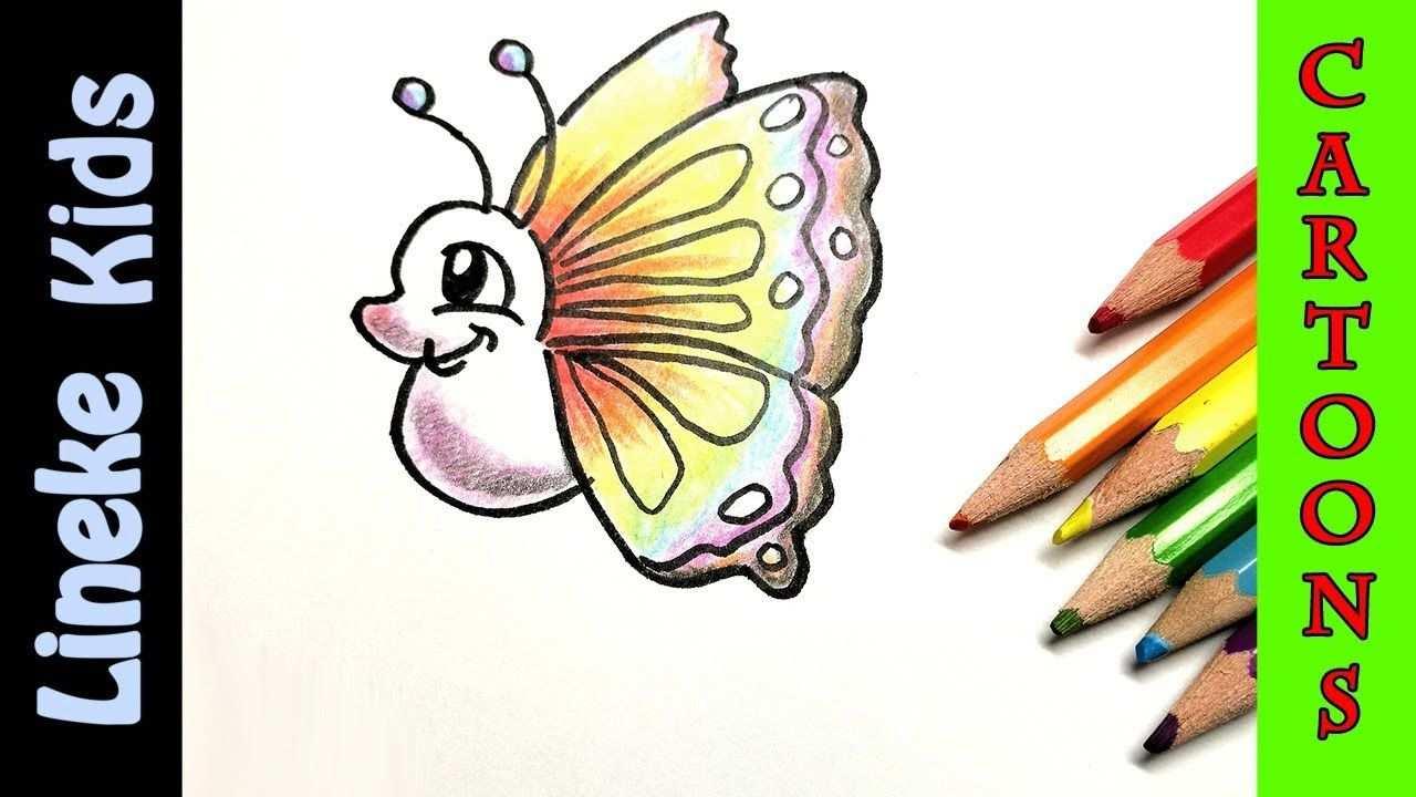 Cartoon Vlinder Tekenen Makkelijk Met Kleur Potlood Youtube