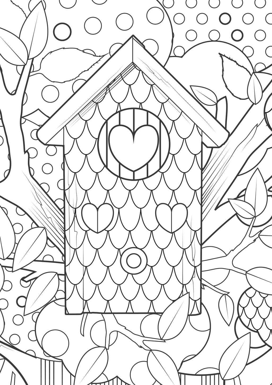 Kleurplaat Vogelhuisje Bos Hart Coloring Bird House Heart