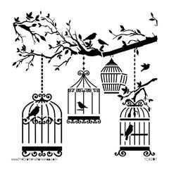 Birds Stencils Stencil Sjablonen Kleurplaten En Pentekeningen