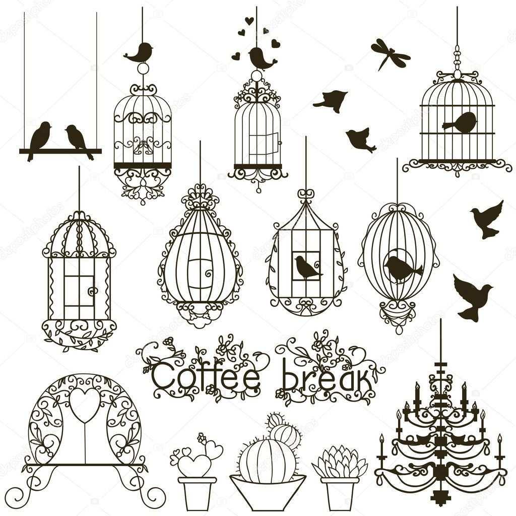 Download Een Rechtenvrije Vintage Vogels En Vogelkooien Collectie