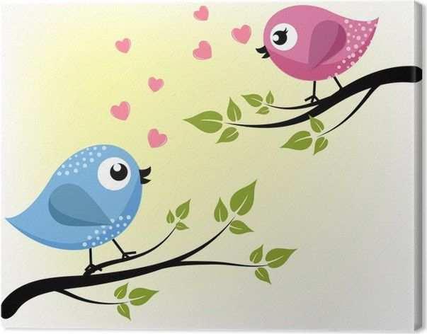 Canvas Twee Liefhebbende Vogels Op De Takken Pixers We Leven
