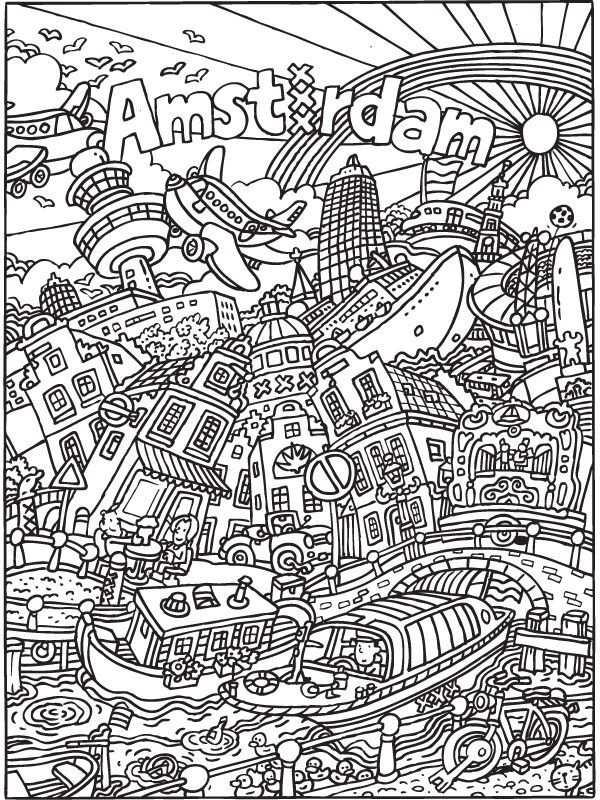 Kleurplaat Kleurplaat Voor Volwassenen Amsterdam Kleurplaten Nl
