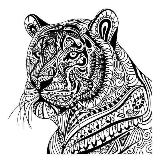 Tiger In Pattern Wall Sticker Mandala Animal Wall Decal Decor