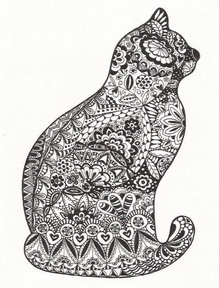 Zentangle Cat With Images Cat Coloring Page Animal Coloring