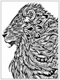 Realistic Lion Adult Coloring Pages Free Met Afbeeldingen