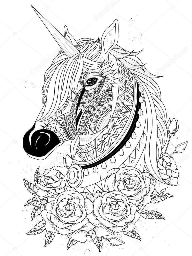 Unicorn Paard Kleurplaat Met Afbeeldingen Kleurplaten Paarden