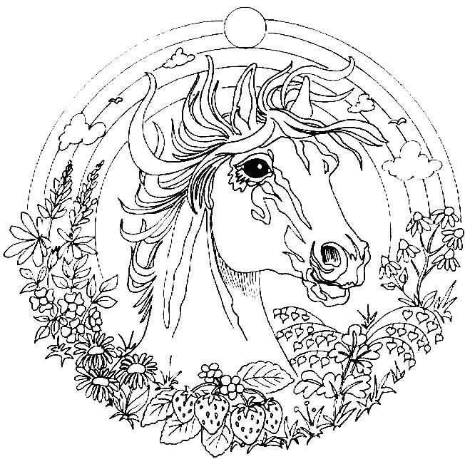 Mozaiek Patroon Mandala Paard Met Afbeeldingen Kleurplaten