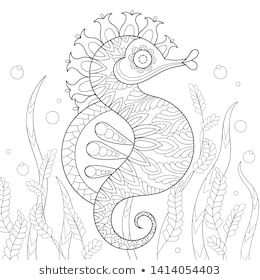 Peacock Adult Antistress Coloring Page Black Stockvector