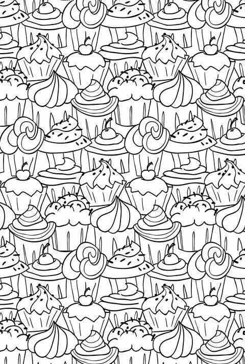 Cupcakes Kleurplaten Kleurboek Prints