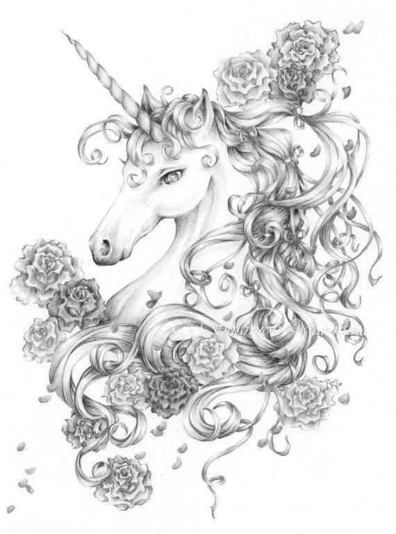 Unicorn Print Ribbons And Roses Fantasy Art Met Afbeeldingen