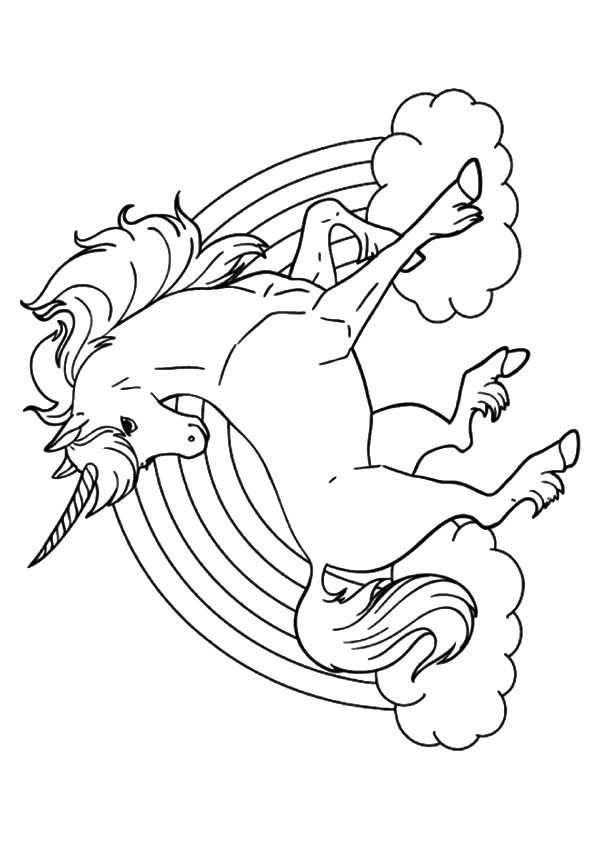 Eenhoorn Regenboog Kleurplaat Geprint Kleurboek Eenhoorn