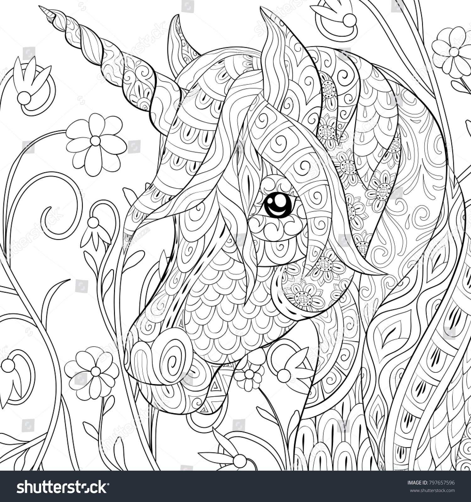 Adult Coloring Page Book A Cute Unicorn On The Floral Background