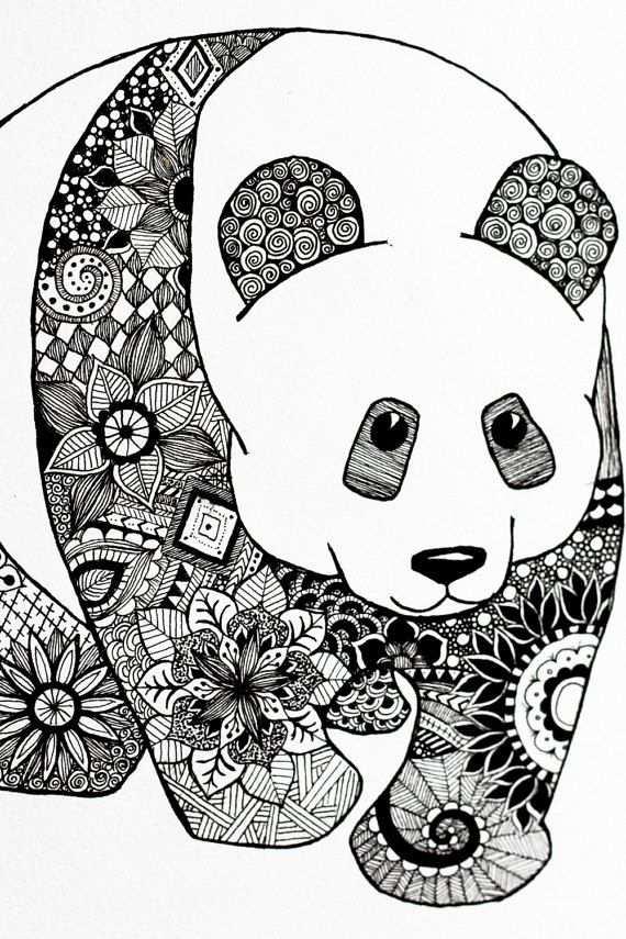 kleurplaat voor volwassenen panda