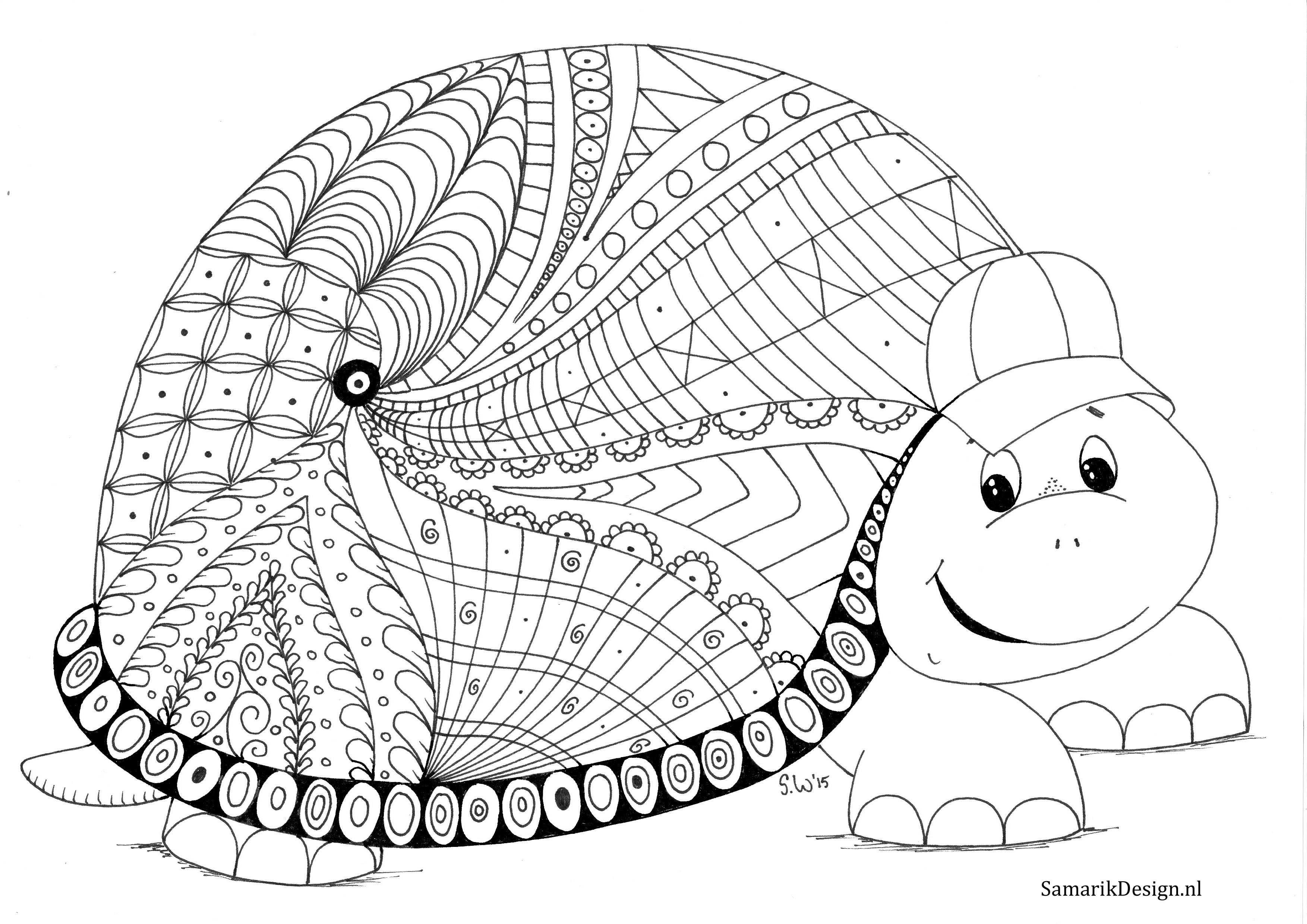 kleurplaat voor volwassenen schildpad