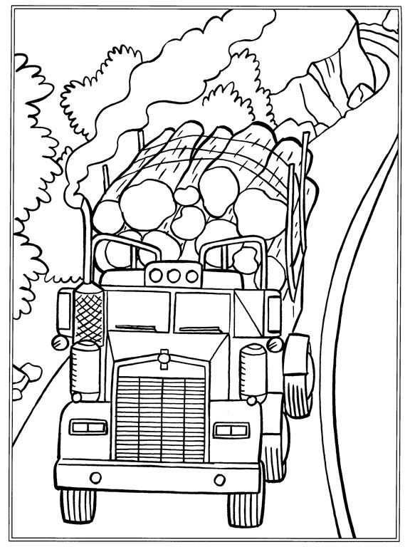 Kleurplaat Vrachtwagens Boomstammen Kleurtekeningen Cool