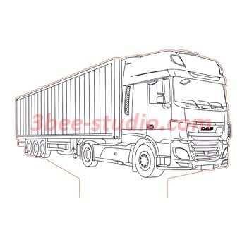 Daf Xf Truck 3d Illusion Lamp Plan Vector File Com Imagens