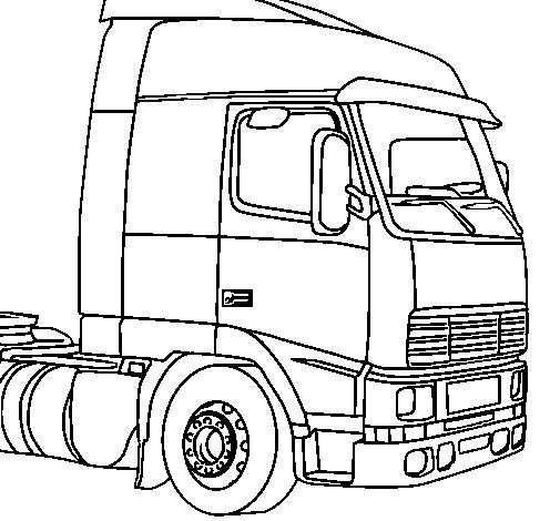 kleurplaat vrachtwagen mack